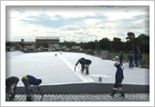 Acrylic Waterproofing System - ridges, flashings, overlaps, roofscrews